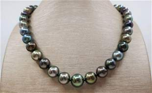 10x13mm Bright Round Multi Tahitian Pearls - Necklace