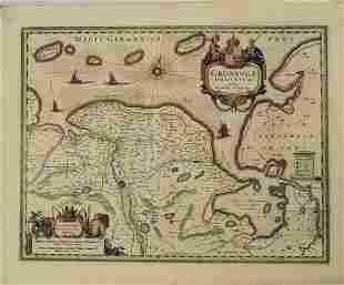 1640 Blaeu Map of Dutch Groningen -- Groninga Dominium