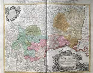 South of France, region of Languedoc. 1762 by Homann