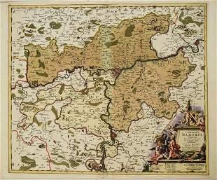 1690 Allard Map of Central Belgium with Namur in Center