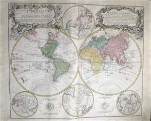 Double hemisphere world map with additional