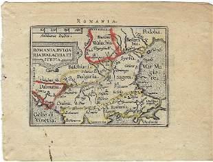 1602 Ortelius Map of the Balkans -- Romania, Bulgaria,