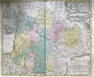 French region of Aquitaine, 1762 by Homann Heirs
