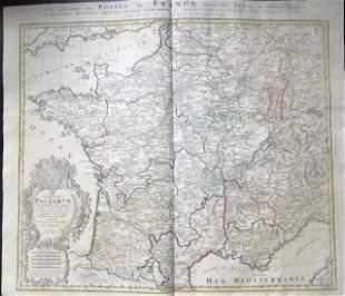 France postal map. 1762 by Homann Heirs.