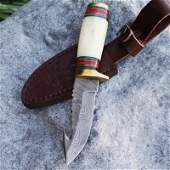 Camping damascus steel knife pocket leather bone