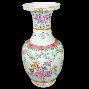 Large Chinese Republic Porcelain Vase Floral Design c