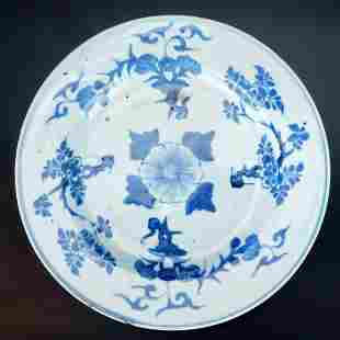 Chinese Kangxi blue and white porcelain floral plate