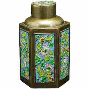Vintage Chinese Republic Enameled Brass Tea Caddy