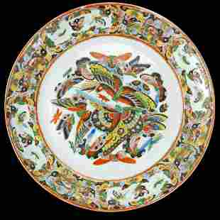Large 19th C Chinese Thousand Butterfly Plate.
