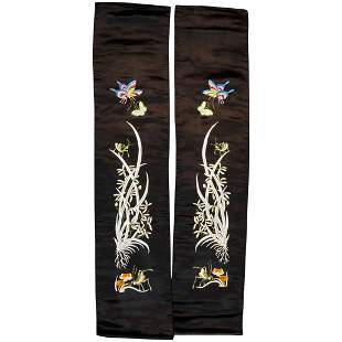 Pair Mid-Century Chinese Embroidered Silk Hangings