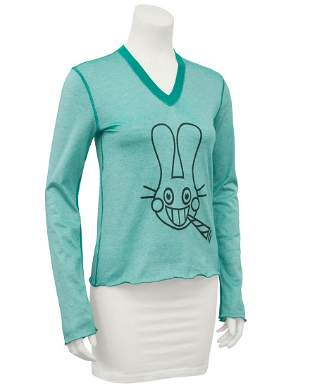 Lucien Pellat Finet Teal long sleeve shirt with bunny