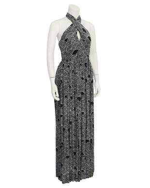 Geoffery Beene Black & White Cross Halter Gown