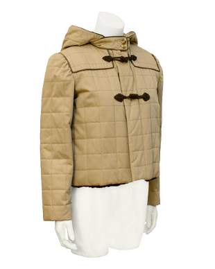 Valentino Tan Fur Lined Cropped Duffle Jacket