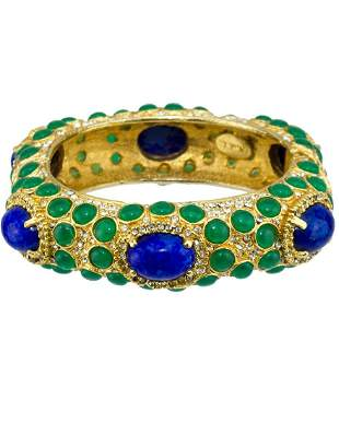Kenneth Jay Lane Gold Tone Bangle with Green and Blue