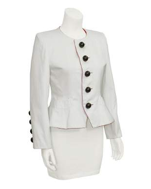Yves Saint Laurent White Jacket with Black Dome Buttons