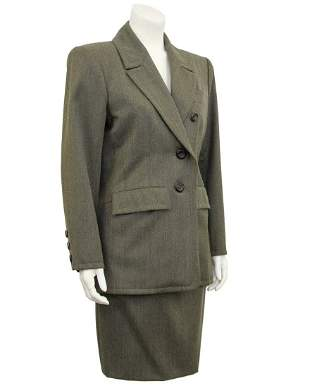 Yves Saint Laurent Khaki Wool Skirt Suit