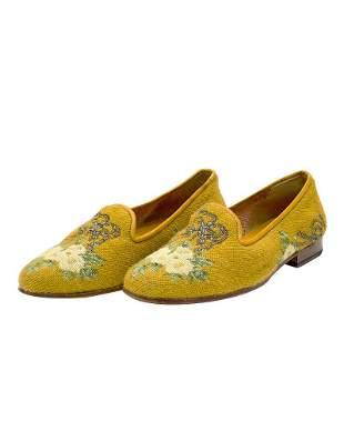 Stubbs & Wootton Floral Pattern Needlepoint Slippers