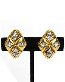 Chanel Gold Diamond Shaped Rhinestone Earrings