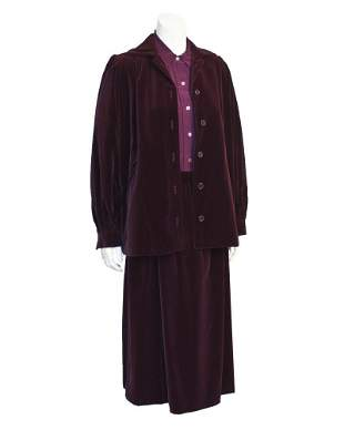 Yves Saint Laurent Purple Velvet Skirt Suit