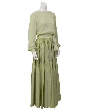 Chanel Mint Green Tiered Skirt and Top
