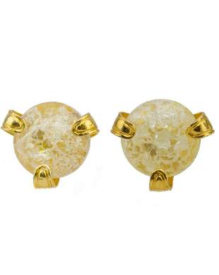 Yves Saint Laurent Glass and Gold Earrings