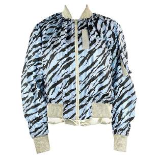 Sacai Luck Light Blue Zebra Striped Bomber Jacket Size