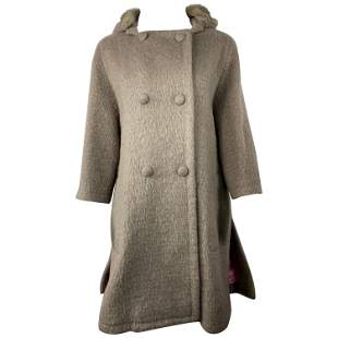 Louis Vuitton Paris Beige Mohair and Fur Coat Jacket