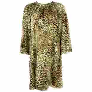 Vintage LEONARD Paris Silk Leopard 3/4 Sleeve Mini