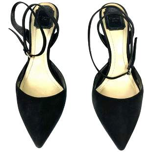 Christian Dior Noir Black Suede Point Toe Sculptured
