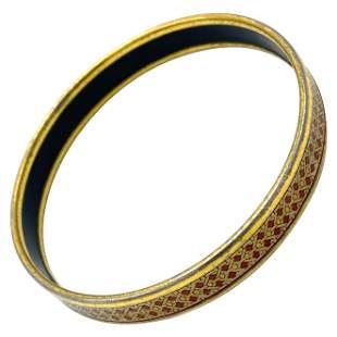Vintage Hermes Enamel Bangle Bracelet Narrow
