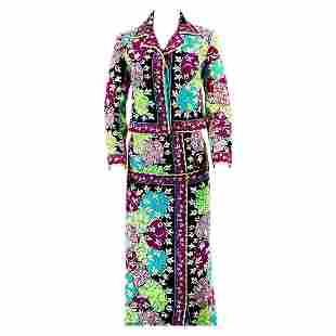 Vintage EMILIO PUCCI Velvet Floral Multi Color Jacket