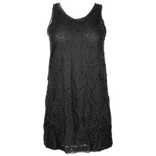 Christian Dior Paris Black Silk Floral Lace Top Tunic