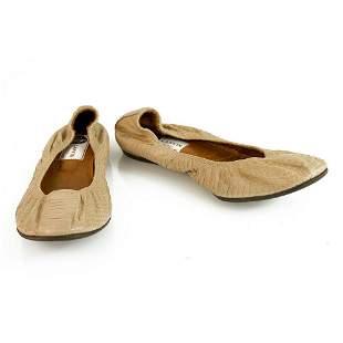 LANVIN Beige snake skin elasticated trim ballet shoes
