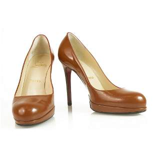 Christian Loboutin Classic Brown leather round toe