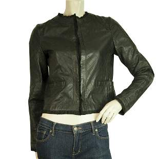 Dolce & Gabbana Black Quilted Lambskin Cropped Leather