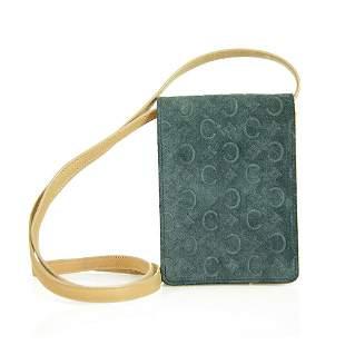 Celine Tan Leather Blue Suede Monogram Wallet Mobile
