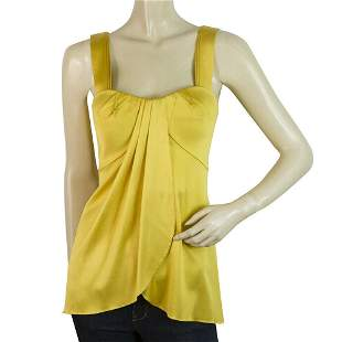 Jasmine de Milo Yellow Silk Pleated Tank Vest