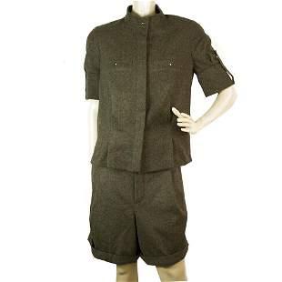 Chloe Gray Wool Button Shirt Top and Bermuda Pants