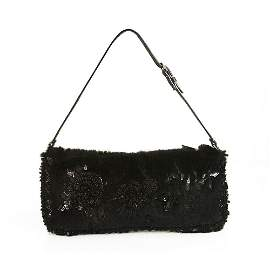 Valentino Garavani Black Lapin Fur Beaded Leather Strap