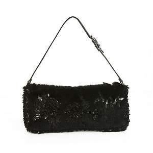 Valentino Garavani Black Lapin Fur Beaded Leather Strap
