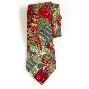 Hermes 7286 MA 100% Silk Red Abstract Art Pattern Men's
