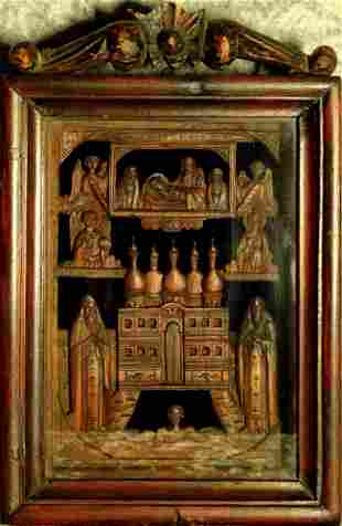 Saints, wooden carved icon