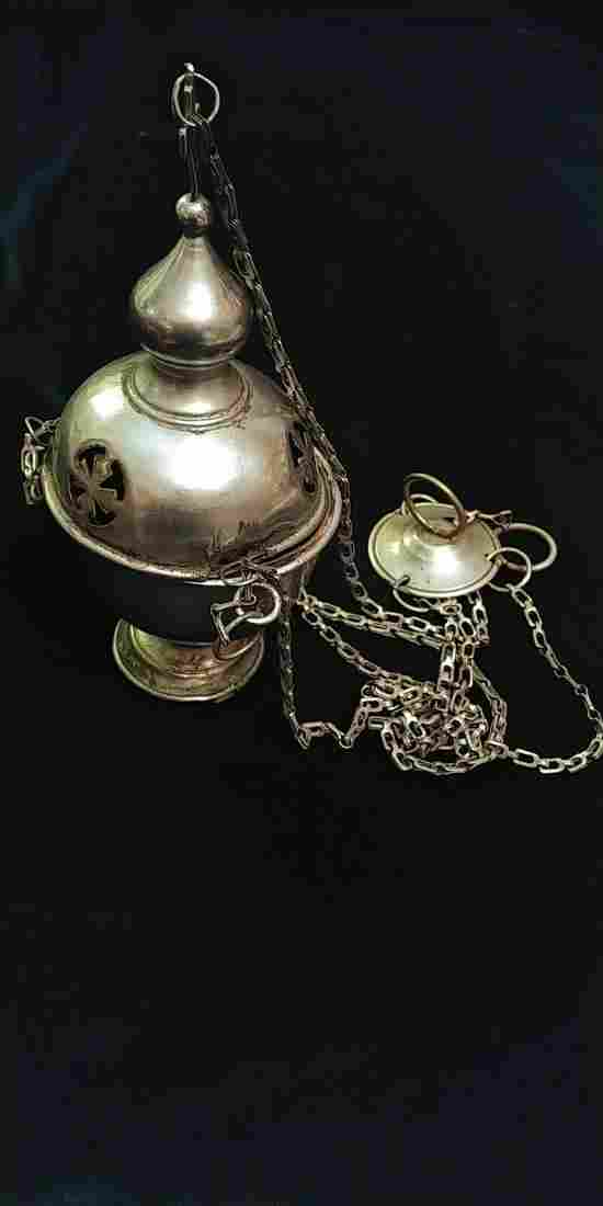 ANTIQUE RUSSIAN INCENSE BURNER THURIBLE VERY RARE!;
