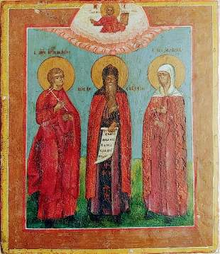 ANTIQUE CIRCA 1800 HAND PAINTED RUSSIAN ICON OF THEEE
