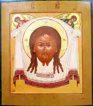 ANTIQUE CIRCA HAND PAINTED RUSSIAN ICON CHRIST IMAGE