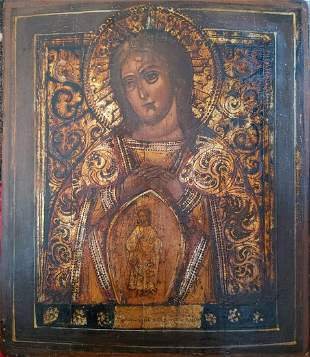 ANTIQUE 19c HAND PAINTED RUSSIAN ICON THE MOTHER OF GOD