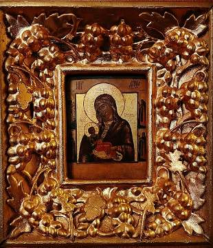 ANTIQUE 1860s HAND PAINTED RUSSIAN ICON OF SOOTHE MY