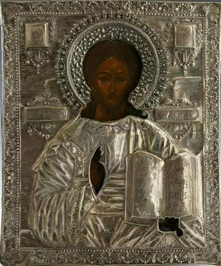 ANTIQUE 18c 84 SILVER HAND PAINTED RUSSIAN ICON OF THE