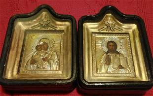 ANTIQUE WEDDINGS PAIR OF RUSSIAN 84 SILVER 19c RUSSIAN