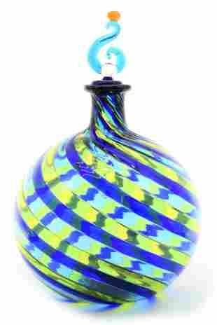 Murano glass bottle with filigrana signed